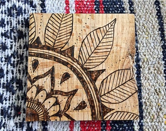 Wood burned Trivet/Large coaster