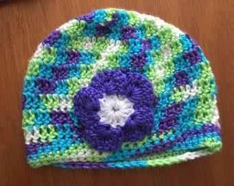 Multi colour crochet flower hat