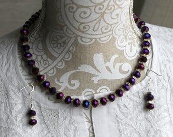 "Purple Fire-polished Czech Glass Bead Earrings and 18"" Necklace"