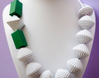 White paper and elements necklace silver and green, handmade, ecofriendly