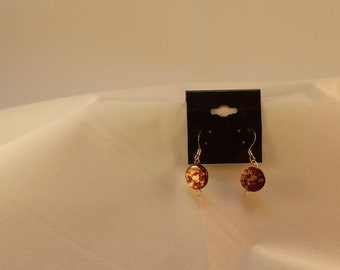 brown speckled earrings