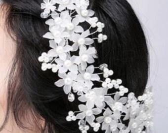 Shiny Pearl flower wedding party bridal Headband// prom headpiece