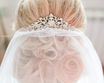 Bridal Wedding Silver Plated Crystal Flower Hair Comb, Hair Clip, Hair Jewelry Accessories