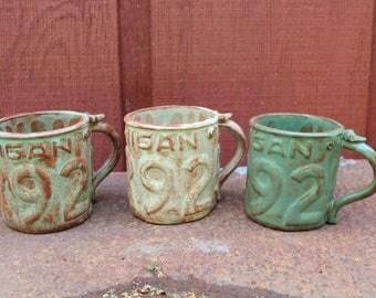 Michigan License Plate Mug, Unique Pottery, Tea or Coffee Mug, Creative Ceramic Mug, Handmade Pottery, Ceramic Art, Gift, Mooreville Pottery