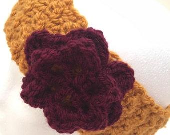 Crochet headband, gold flower headband, crochet earwarmer, women headband, textured headbands, handmade headband, headbands for women