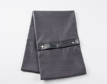 MEN'S SCARF plain gray and blue interior