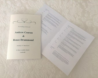 Wedding Ceremony Booklet Program Hearts Order of Service Ceremonies Book Unique Personalised Printable File Church Garden Beach