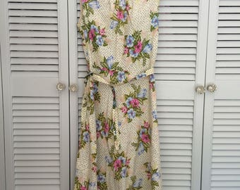 1960s vintage sundress - tropical floral print - size 10