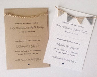 Rustic twine wedding invitation wedding stationery