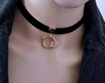 Velvet Choker, Black Choker, Gold Circle Ring Pendant Choker, Punk Choker, Thin Choker, Ring Choker, Choker Necklace with Charm, Choker