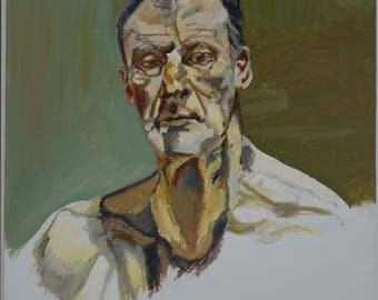 Oil on canvas, stretched on frame - copy inspired of a self-portrait of Lucian Freud painting