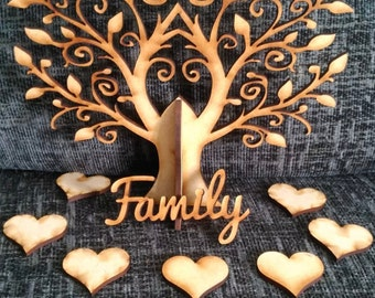 Personalised Wooden Tree Family & Hearts, each individually personalised