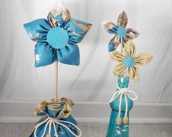 Fabric flowers - set of 2 home decorations - blue duck and beige