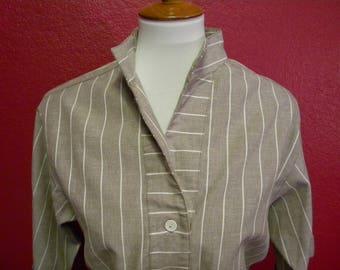 Vintage Willi of California Gray Striped Shirt Dress