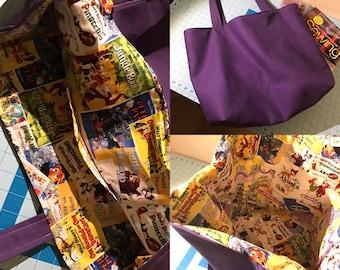 Vintage Disney Poster Lined Canvas Tote Bag