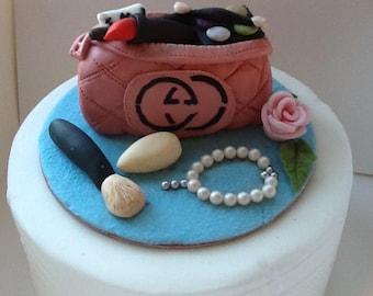 Novelty,designer Gucci makeup bag and makeup, cake topper, birthday cakethe vvvv