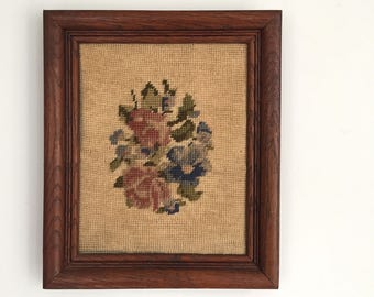 Framed Needlepoint Floral Decor
