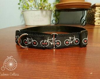 "1"" Martingale Dog Collar - Bicycle Print - Black"