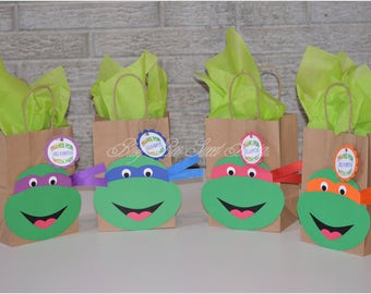 Ninja Turtles Party Favor Bags / Ninja Turtles Bags / Leonardo - Raphael - Donatello - Michaelangelo