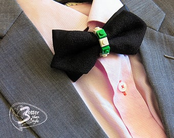 Fancy adult black Bow Tie with LEGO pieces
