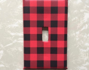 Red and Black Plaid Lumber Jack Decorative Light Switch Cover