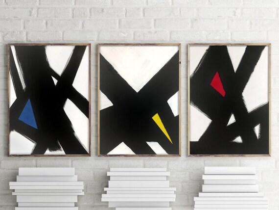 Black & White Slash Primary Triptych
