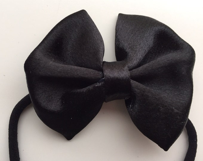 Satin Black fabric hair bow or bow tie