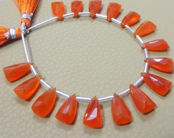 Five Perfectly Matched Pairs AAA Grade CARNELIAN Faceted Pyramid shape Briolette beads, Elongated pyramid, Size 7x15 mm