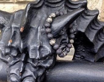 """MENS handmade bracelet - """"ADJO"""".Is Egyptian name meaning Treasure  Black Lava beaded 10mm Bracelet."""
