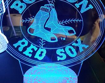 Boston Red Sox 3D Night Lamp, 3D Night Light Children Light Home Decor Illusion light