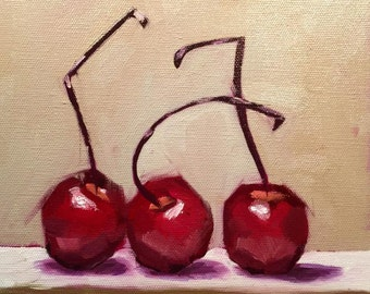 Fine Art Oil Painting Still Life with Cherries.  Original Oil or Fine Art Print