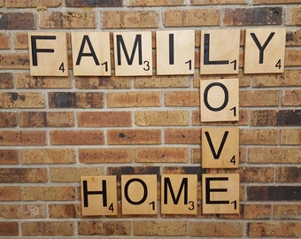 "Large Scrabble Tiles 5"" x 6""  Carved Letters Maple Plywood Letter Tile Oversized"
