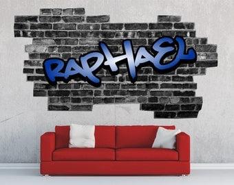 Sticker wall sticker Decoration room teenager name personalized brick black Skate Graffiti