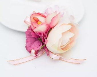 Bridesmaid Wrist Corsage, Wedding Flowers, Wedding Corsage, Pink Corsage, Blush Corsage, Prom Corsage