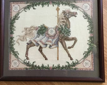 Cross stitched carousel horse