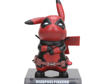 "Deadpool Pikachu ""Pikapool"" Figurine, Pokemon Pikachu Deadpool Marvel Figure Collectible Model Toy"