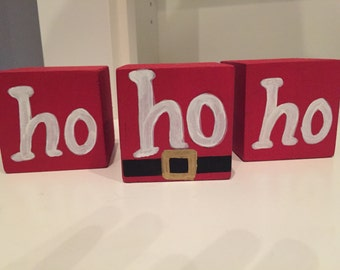 HO HO HO Blocks, Christmas Decorations, Christmas