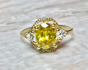 Solid 14k Gold Canary Yellow Diamond Cz Ring - Canary Diamond Ring - Engagement Rings - Wedding Rings