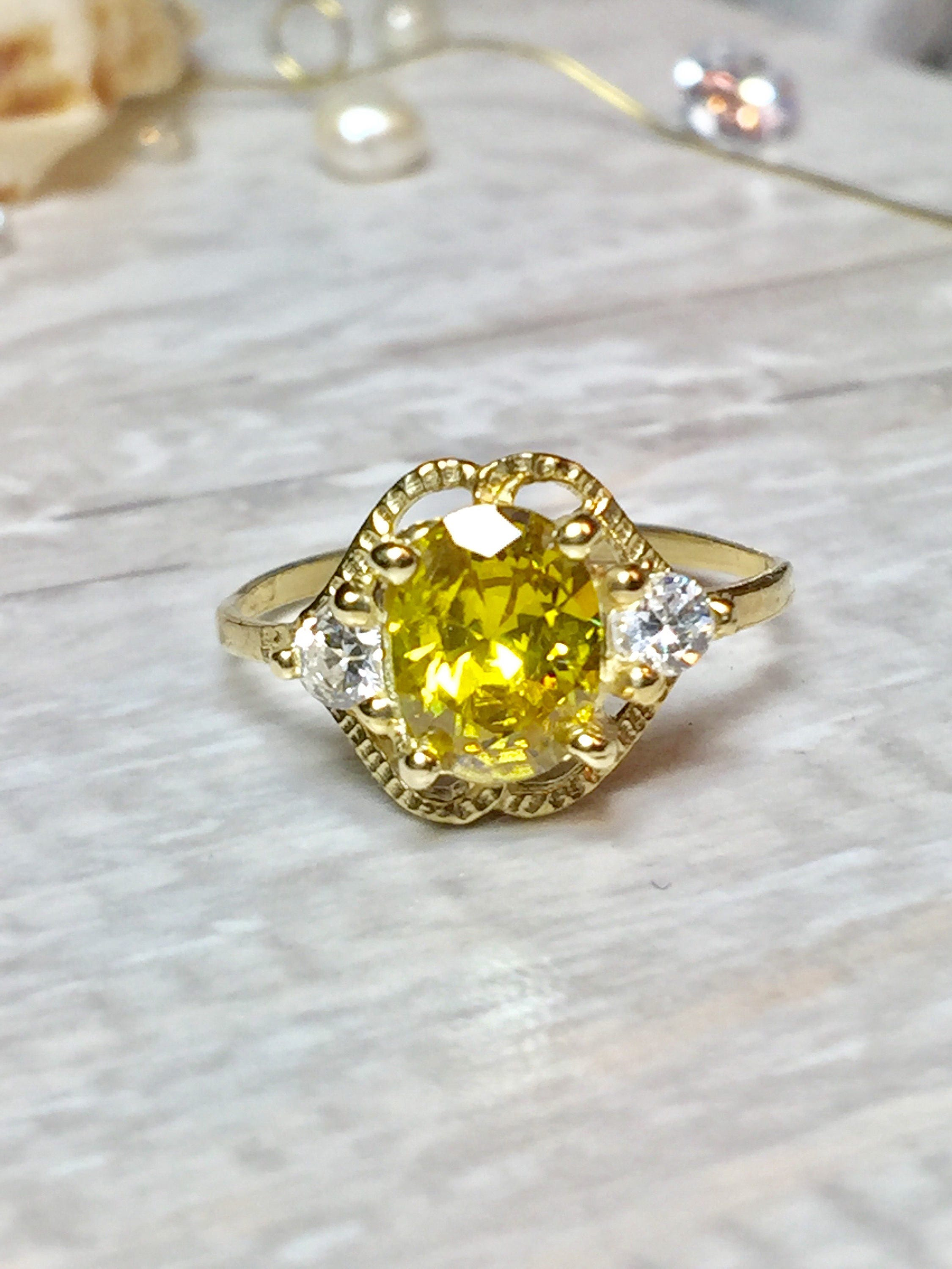 Solid 14k Gold Canary Yellow Diamond Cz Ring Canary Diamond