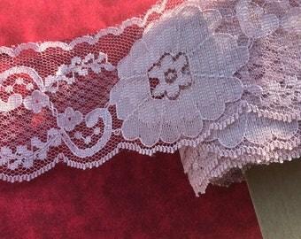 "Dusty Rose Floral Lace trim 2 1/2"" wide"