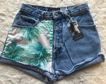 Pink & Green Palm Branch 1/2 front denim shorts