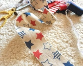 3m nautical ribbon with red and navy blue stars, linen ribbon, beige ribbon, nautical print ribbon, stars pattern ribbon, cardmaking ribbon