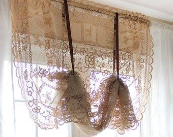 Luxury Royal Lace Embroidery Reticella Crochet Balloon Tie Up Curtain  Ribbon Shade