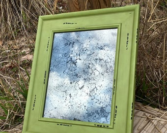 11x14 Antiqued Mirror with Distressed Green Frame