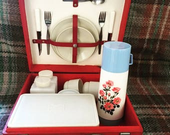 Vintage 1950's 2 Person Picnic Set in Red Hard Case