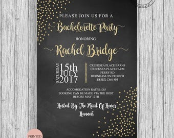 Bachelorette Hen Party Invites Modern 2017 Custom Personalized A5