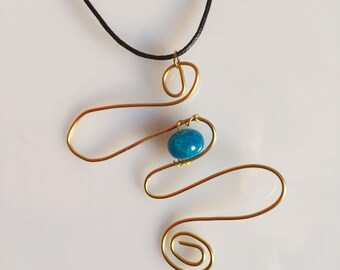 Necklace with Blu Stone and handmade Golden Thread