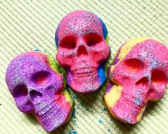 Skull Fizziez - Skull Bath Bomb - Skull Bath Fizzy - Rainbow Skull Bath Bombs - Custom Skull Bath Bombs - Skull - Glitter Bath Bomb