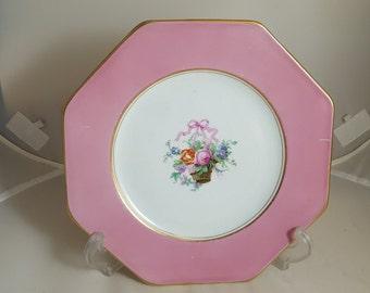 Wedgwood Imperial Porcelain Floral Basket Plate Pink 1900s