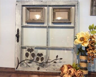Rustic Repurposed Window Frame With Owls,Rustic Home Decor,Reclaimed Window Frame,Old Window Picture Frame,Owl Wall Decor,Rustic Wall Decor
